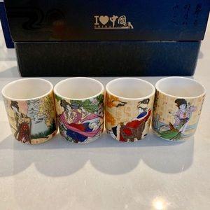 4 Piece Sake Shot Gods Set - Authentic from Japan